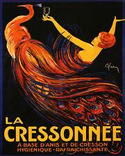 "Cressonnee Peacock Anis Liquor French European 16""X20"" Vintage Poster FREE SH"