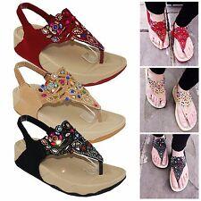 Ladies Womens Low Wedge Heel Comfort Walking Summer Beach Sandals Shoes Size 3-8