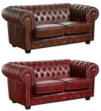 Sofa Couch Ledersofa 2-sitzig Leder Wischleder vintage rot braun Ziernieten