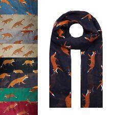 NEW Animal Fox Print Fashion Scarf Wrap Chiffon Stole Soft Large Light UK