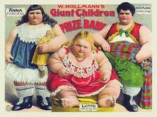 Vintage Circus Freak Show Poster Giant Children A3 / A2 Print