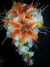 Wedding 23 pc bridal bouquet orange stargazer lily, green orchid white or ivory
