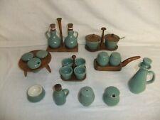 C4 Pottery Denby Bourne - Manor Green - RARE cruet set oil vinegar salt egg 6D3A