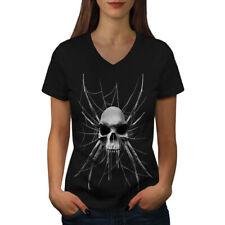 Spider Web Skeleton Skull Women V-Neck T-shirt NEW   Wellcoda