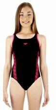 Original Speedo Monogram Muscleback Mädchen Badeanzug schwarz/pink