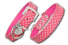PU Leather Dog Collar Diamante Coller Pet Pink Puppy Small Medium Large Spotty
