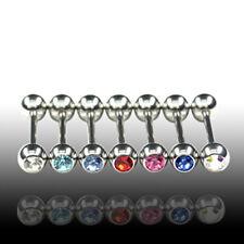 1,2mm Piercing Barbell kugel mit Kristall Brust Ohr Tragus Intim Piercing