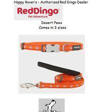Premium Red Dingo Dog Collars & Leashes - Desert Paws Orange - Pick Size