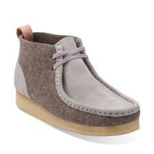 Clarks Originals Womens ** Wallabee Light Grey Felt Boots ** UK 4,4.5,5,6,7 D