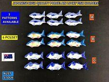 6 PCS Japanese Style New Handmade Porcelain Fish Chopstick Holder Set 3 patterns