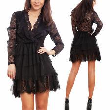 d1042799af18 Vestito donna mini abito pizzo velo elegante aderente sera sexy TOOCOOL  WD-2719