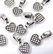 Silver Pewter Heart Glue On Flat Pads Create U own Pendant ~ Choose Quantity
