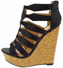 Open Peep Toe Caged Wooden Wedges Booties Gladiator Platform Heel Sandals W15