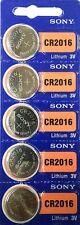 5 Piles Bouton 3V SONY CR2016 au LITHIUM  (DL2016 BR2016 KCR2016 ECR2016 LM2016)