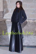 Long Skirt New 100% Genuine Black Lambskin Leather Women Casual Party Wear 221