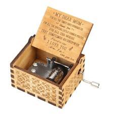 18pc Retro Wood Hand Cranked Music Box Carved Kid Child Birthday Gift Home Decor
