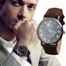 Men Roman Numerals Faux Leather Band Quartz Analog Business Wrist Watch Spirited