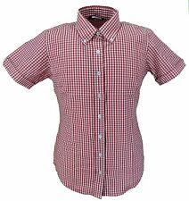 RELCO Rétro Rosso Tessuto a quadretti donna con bottoni manica corta camicie