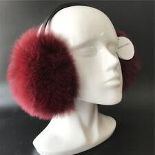 Burgundy - Extra Large, Real Fox Fur Earmuffs Real Sheepskin Leather Bracket