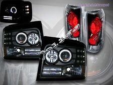 92-96 FORD BRONCO F150 PROJECTOR HEADLIGHTS BLACK HALO LED + TAIL LIGHTS BLACK