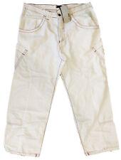 REBEL hip-hop pantaloni uomo bianchi con tasconi obliqui e impunture a constasto