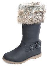 Flauschige Fake Fur Winter BOOTS Krempe Fell STIEFEL mit Schnalle Rockabilly