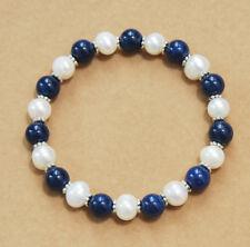 8mm Lapis Lazuli / White Pearl Gemstones Beads Stretch Bangle Bracelet AAA