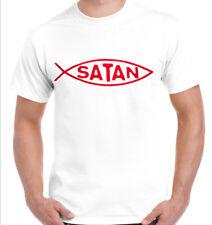 Men's t-shirt Satin Fish White Shirt Devil Darwin Funny Novelty