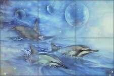 Ceramic Tile Mural Backsplash Macon Dolphins Sea Life Visionary Art LMA013