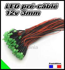 260C# LED 3mm 12v pré-câblé vert diffusante 5 à 100pcs - pre wired LED green