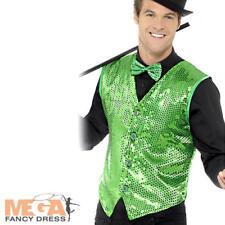 Green Sequin Waistcoat Cabaret Fancy Dress Show Dancer Adult Costume Accessory