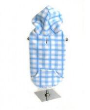 Designer Dog Fleece HOODIE Coat Sweater Soft Blue Plaid - XLarge