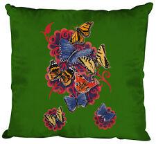 Sofa Deko Kissen gruen 40 x 40 cm Tier Print Butterfly Schmetterlinge 09842-1