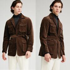 Men's Brown Corduroy Blazer Outdoor Hunting Sport Coat With Belt Regular Fit