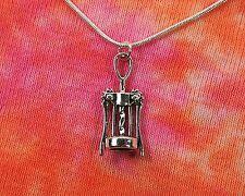 Wine Bottle Opener Necklace on Snake Chain, 3D Corkscrew Winery Jewelry