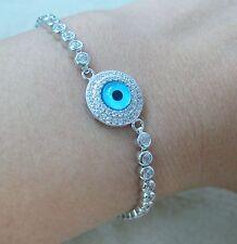 NEW - 925 Sterling Silver Cz Round Blue Evil Eye Adjustable Bracelet 13cm - 23cm