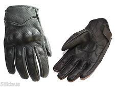 Kurze Leder Handschuhe Motorrad Biker Chopper schwarz belüftet perforiert Schutz