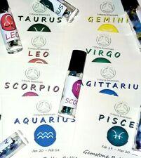 Zodiac Crystals in Roller Bottle for Essential Oil Astrology Gift Gemstones