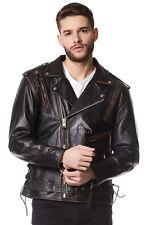Brando Hommes Eagle vieilli noir gaufré masquer motard moto Veste en cuir