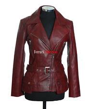 Diaz Maroon New Ladies Womens Retro Casual Designer Real Lambskin Leather Jacket