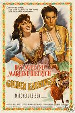 Golden earrings Marlene Dietrich movie poster print