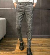 Korean Mens Plaid Pencil Pants Formal Vintage Casual Business Jogger Trousers Sz