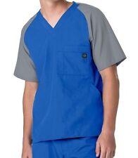 WonderWink Medical Scrubs Men's Royal Contrast Utility 5 Pocket Top Sz S-XXL