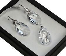925 pendientes de plata/Set hecha con cristales de Swarovski 22mm Pera cristal/clara