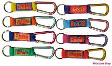 Personalised Name Keyring School Bag Tag Luggage Carabiner Clip Names A ~ F