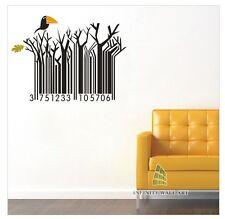 Creative Bar Code Bird Tree Wall Art Stickers Kids Wall Decor Stickers - PD142.