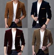 Men's Slim Fit Formal Casual One Button Suit Corduroy Blazer Coat jacket Tops