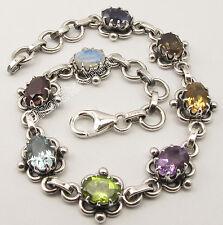 "925 Pure Silver MULTISTONES CLAW Setting ETHNIC ADJUSTABLE Bracelet 7 3/4"""
