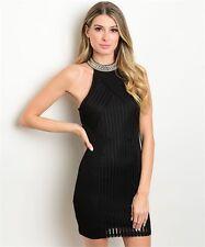 The Clothing Company Black Halter Neck Evening Dress -- S, M, L