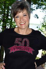 50 & Fabulous Birthday Rhinestone glitter shirt XS S M L XL XXL 1X 2X 3X 4X 5X